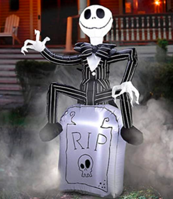 Gemmy Jack Skellington On Inflatable Tombstone Airblown